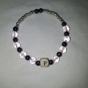 ☺Handmade semi precious stones alphabet bracelet